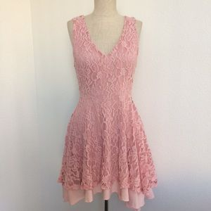 Pink Lace Fit & Flare Dress Urban Outfitters